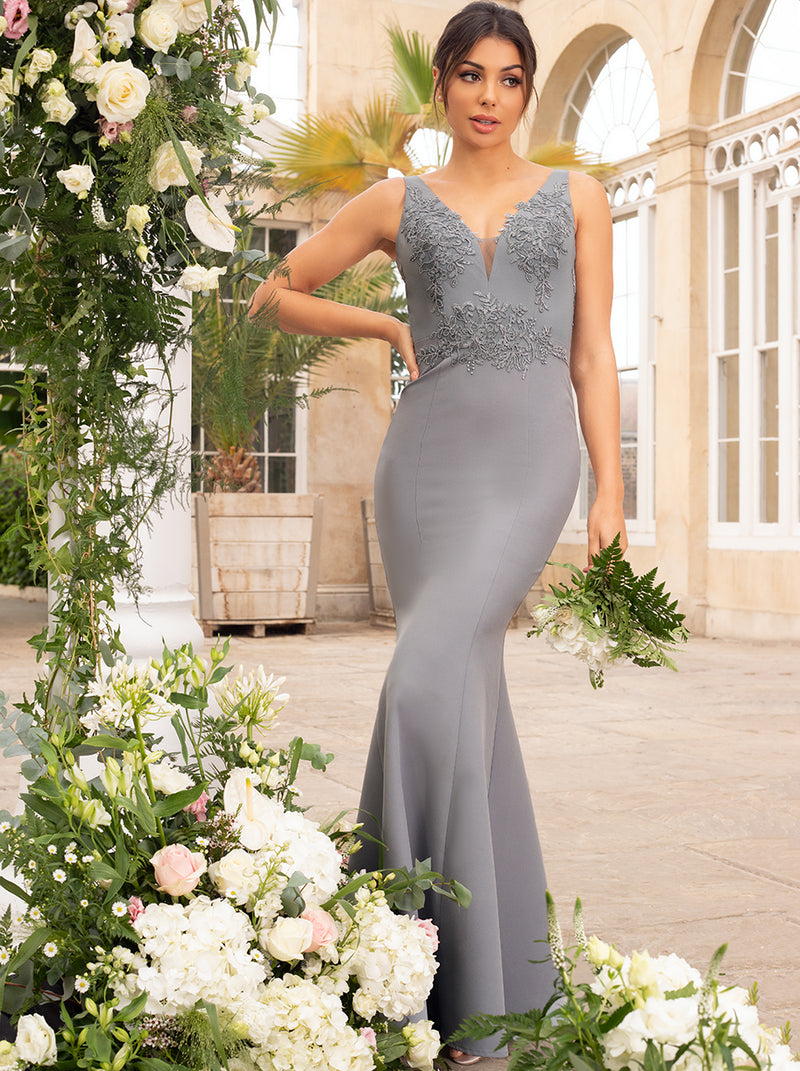 Lace Bodice Maxi Evening Bridesmaid Dress in Green