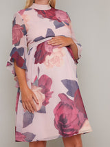 Maternity Bold Floral Print Midi Dress in Mink
