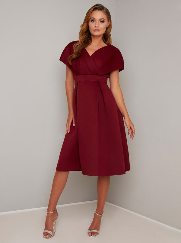 Wrap Detail Tall Midi Dress in Red