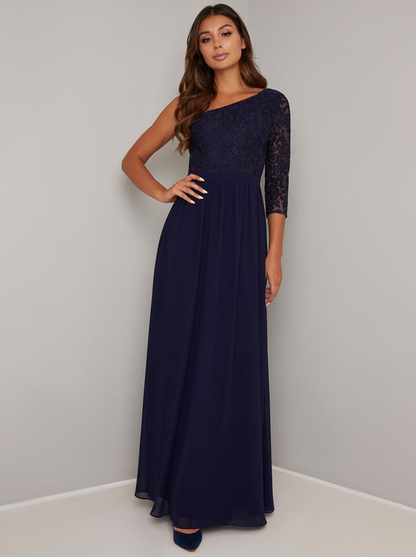 Embroidered Bodice A-Symetric Maxi Dress in Blue