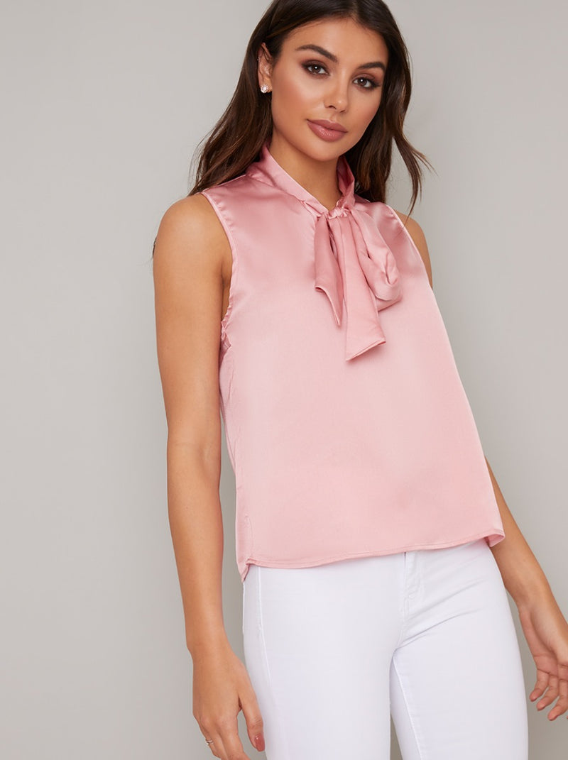 Tie Neck Sleeveless Satin Top in Pink