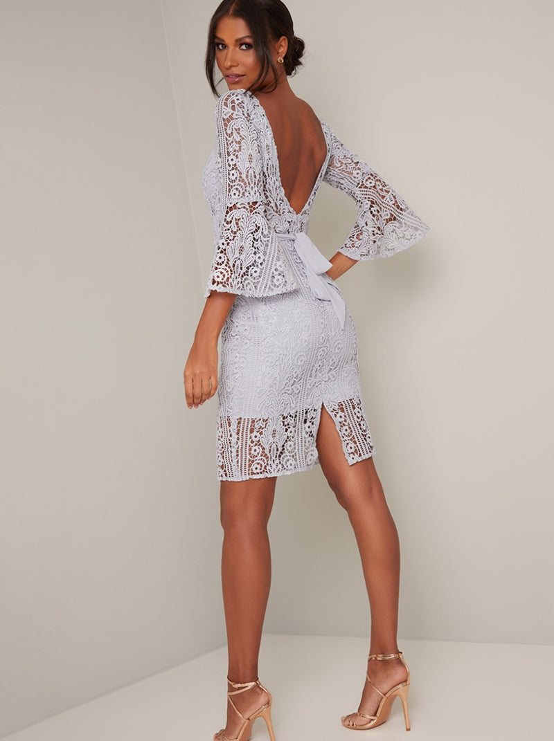Lace Crochet Fluted Sleeve Bodycon Midi Dress in Blue