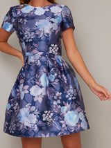 Short Sleeve Floral Print Mini Dress in Blue