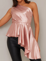 Draped Pleat One Shoulder Satin Top in Pink