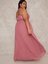 Plus Size Cami Strap 3D Floral Bodice Maxi Dress in Pink