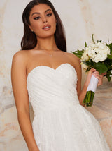 Bridal Bandeau Maxi Tulle Dress in White