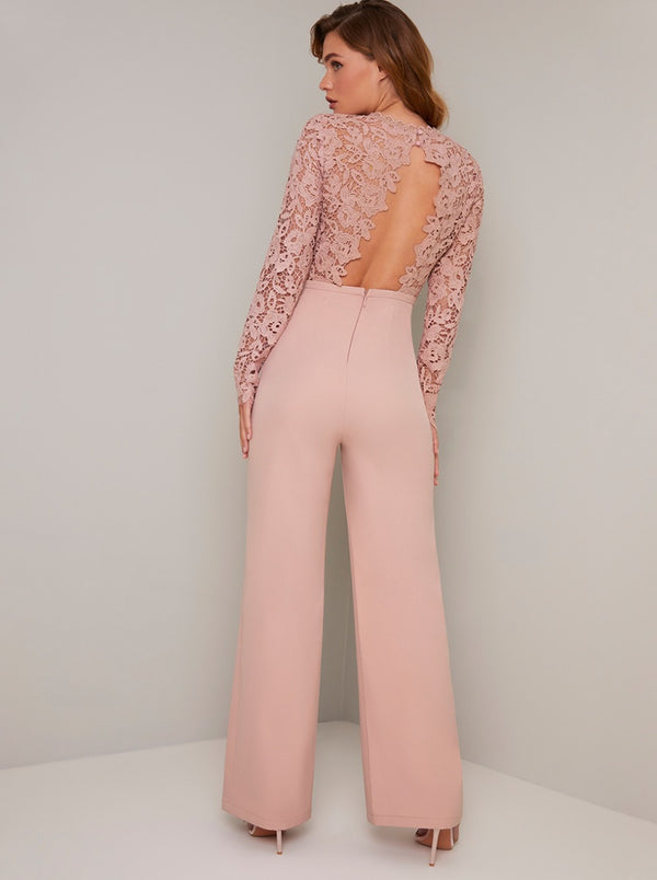 Long Sleeved Lace Bodice Flare Jumpsuit in Pink