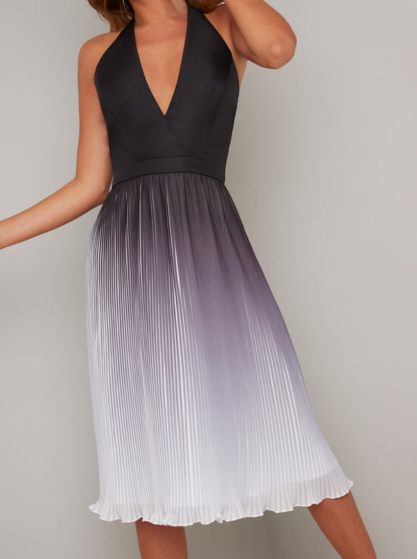 Ombre Pleated V Neck Midi Dress in Black
