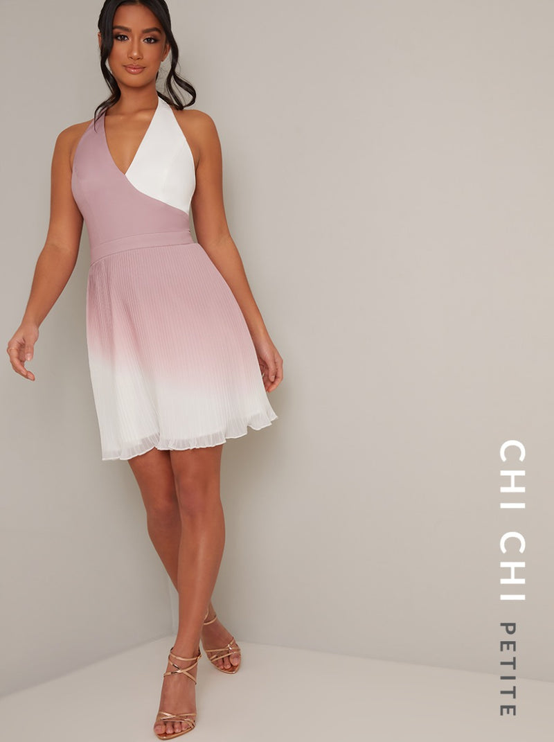 Petite Ombre Halter Neck Pleated Mini Dress in Pink
