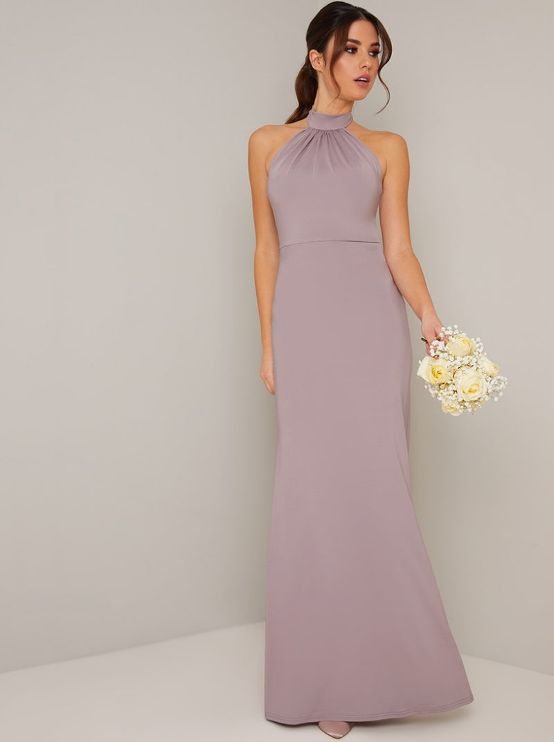 Halter Neck Fitted Maxi Bridesmaid Dress in Purple
