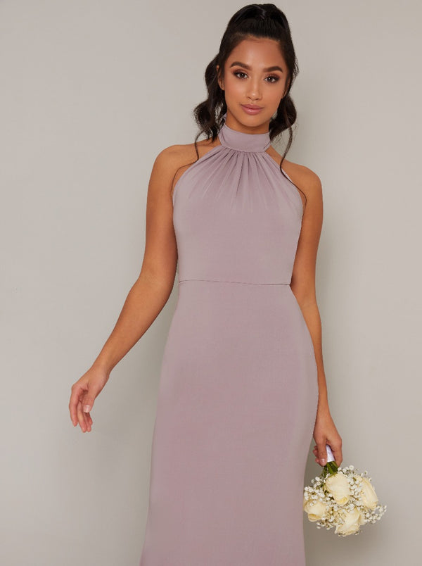 Petite Halterneck Backless Bodycon Maxi Dress in Purple