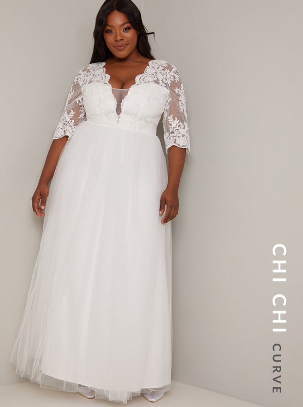 Bridal Maxi Skirt Embroidered Wedding Dress in White