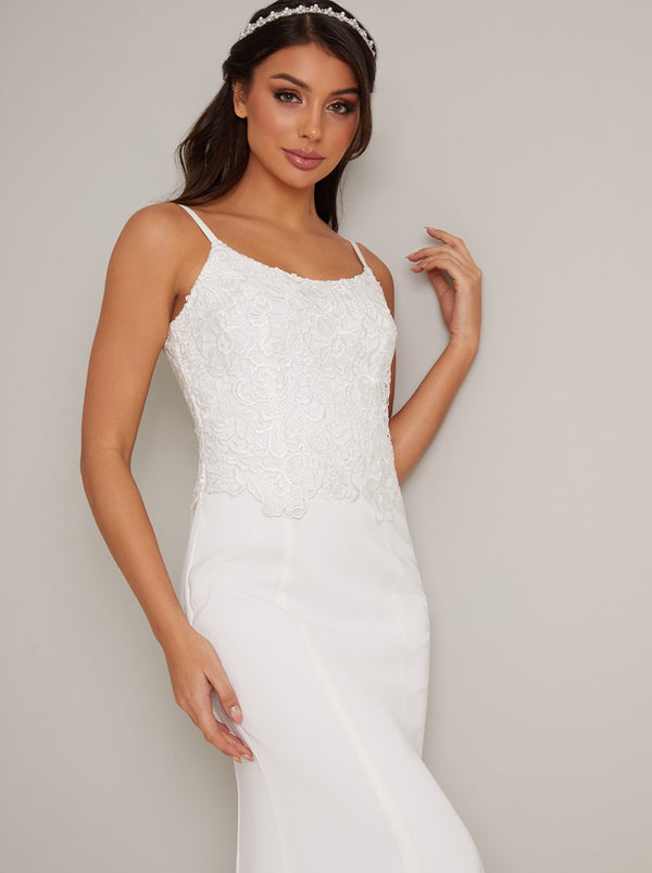 Bridal Cami Crochet Lace Bodice Wedding Dress in White