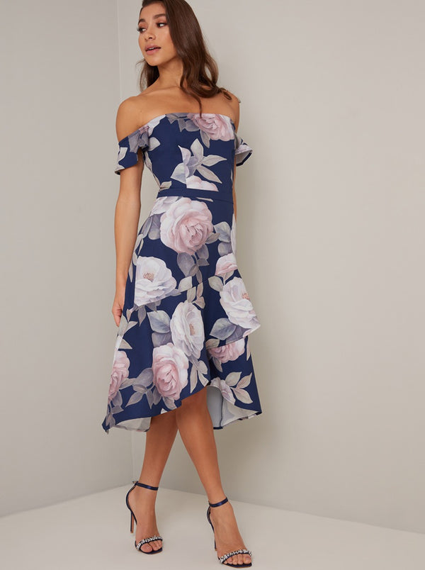 Bardot Frill Sleeve Print Dip Hem Midi Dress in Blue