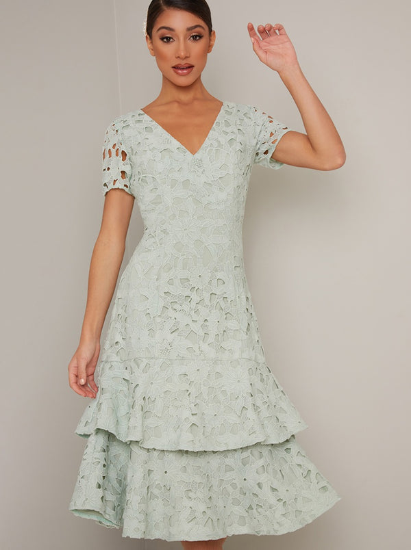 Short Sleeved Crochet Lace Tiered Midi Dress in Green