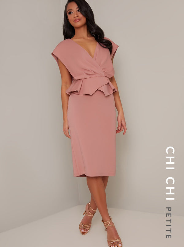 Petite Peplum Waist Bodycon Midi Dress in Pink