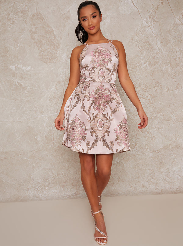 Petite Sleeveless Jacquard Midi Dress in Pink