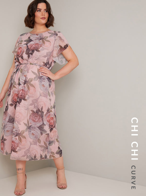 Plus Size Pastal Floral Print Midi Dress in Pink