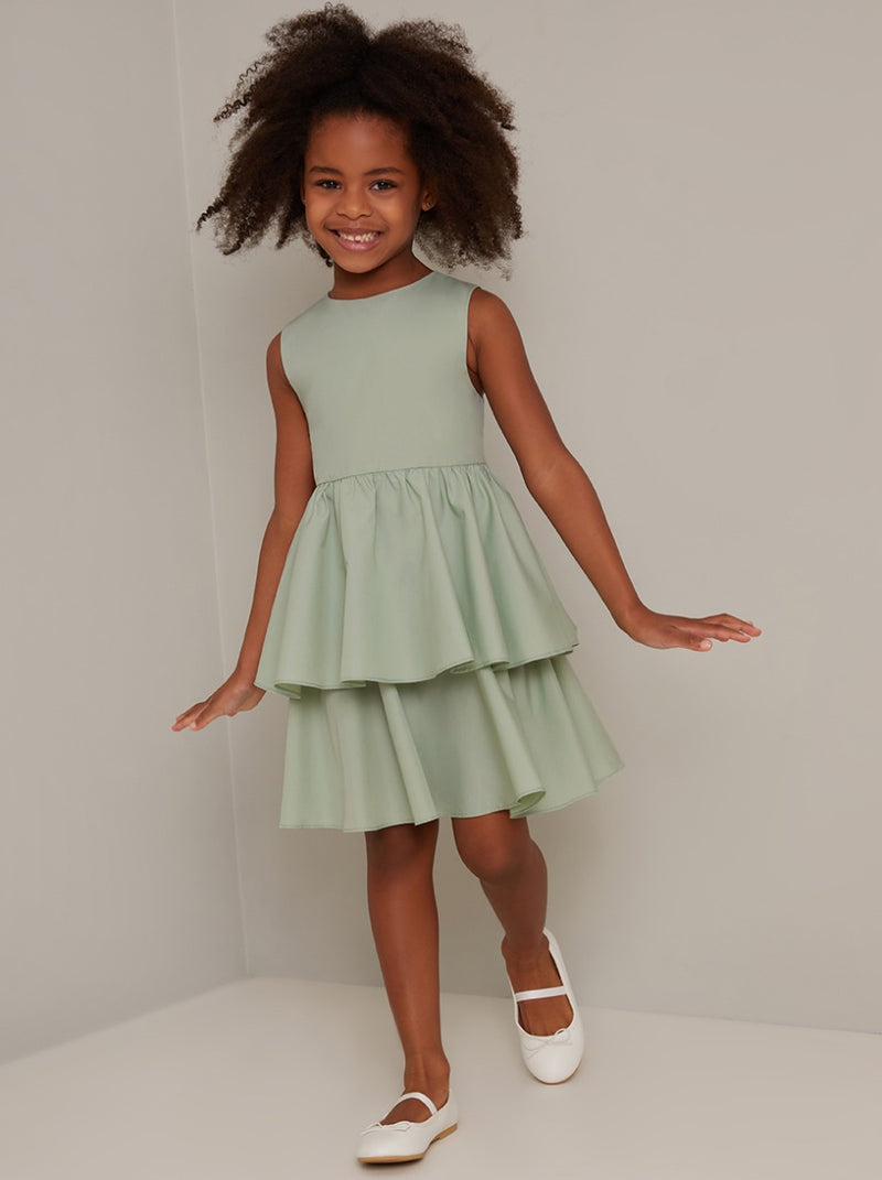 Girls Tiered Design Midi Dress in Green