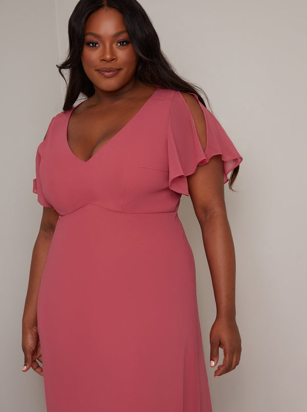Plus Size Angel Sleeve Maxi Dress In Pink