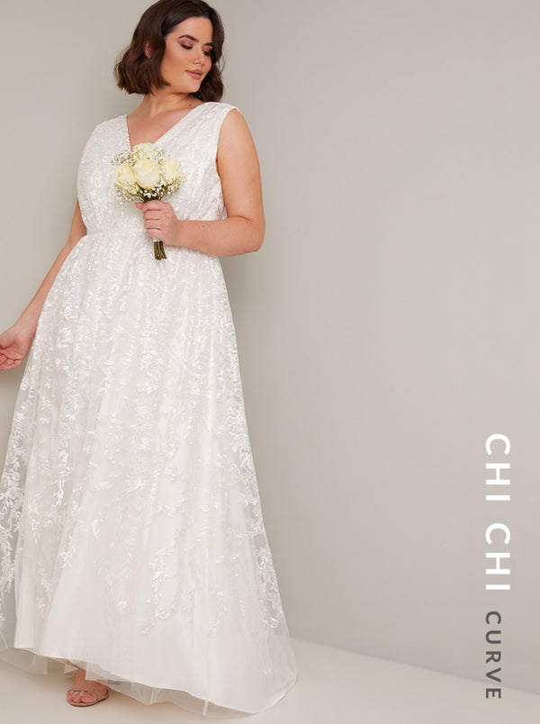 Plus Size Bridal Embroidered Wedding Dress in White