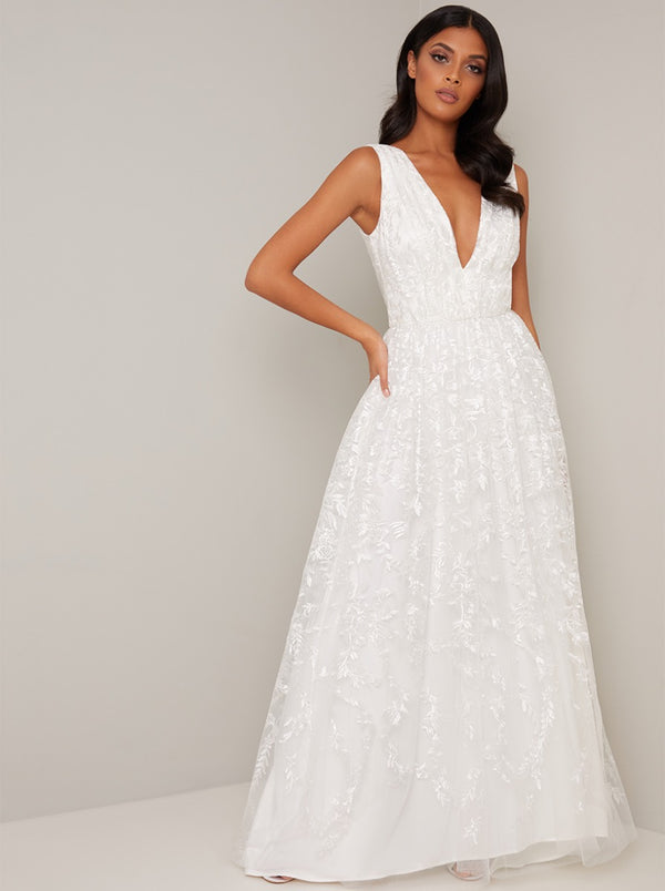 Bridal V Neck Embroidered Wedding Dress in White