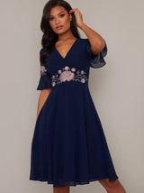 Lace V Neck Midi Dress in Blue