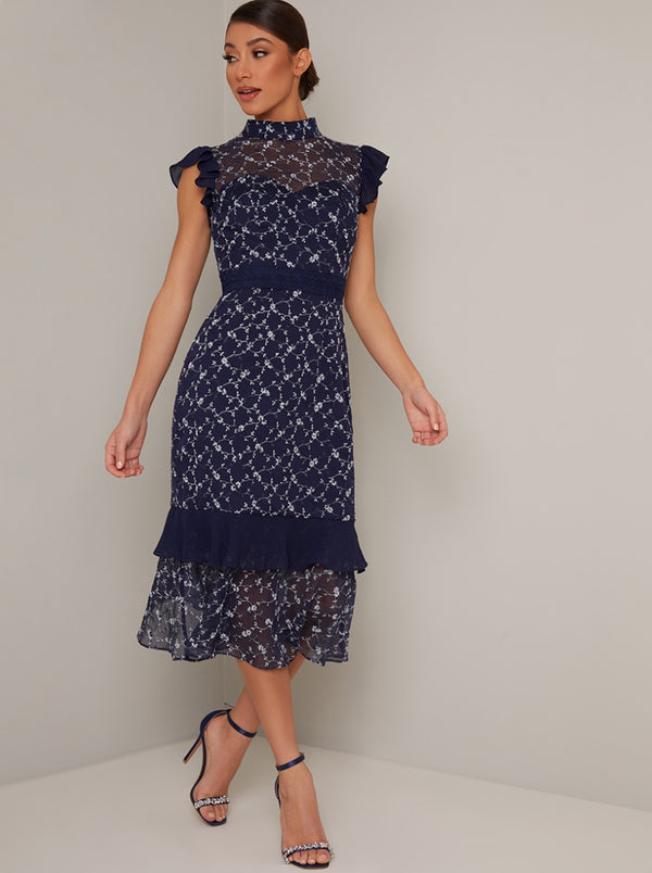 Lace Overlay High Neck Frill Midi Dress in Blue