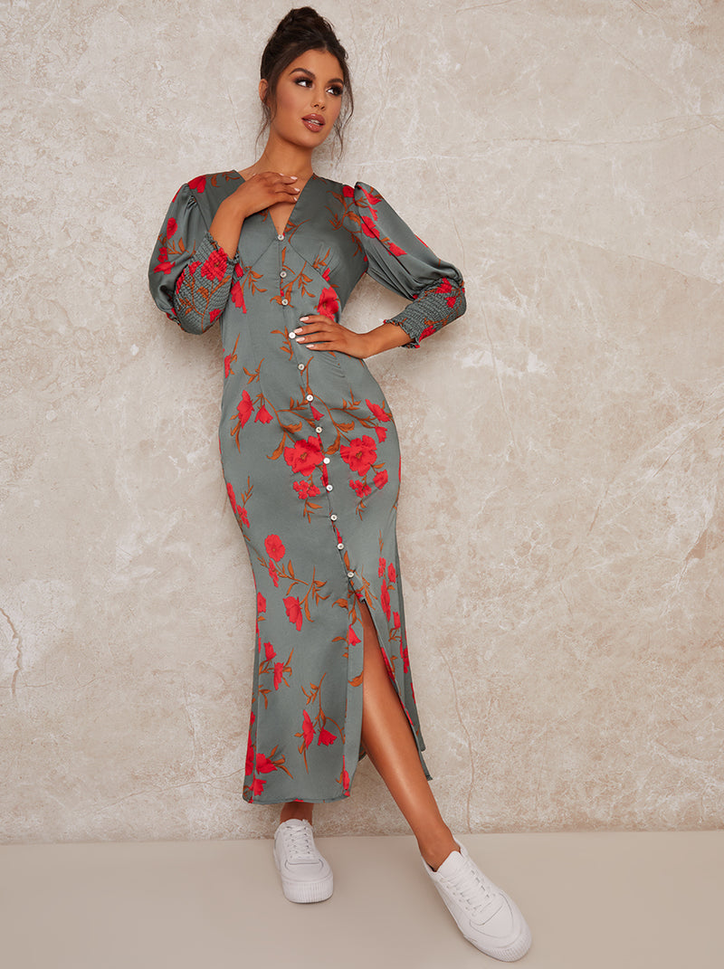 V Neck Smock Sleeve Midi Print Dress in Green