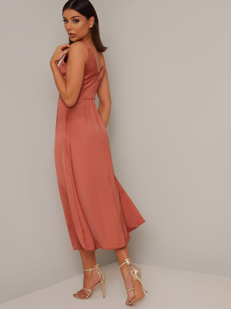 Tall Satin Ruched Detail Midi Dress in Orange