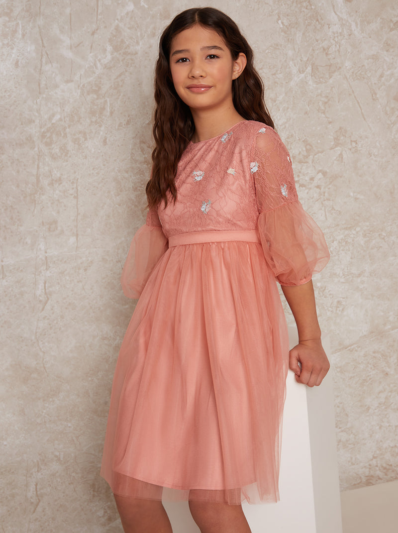 Girls Lace Embroidered A-Line Party Dress in Pink