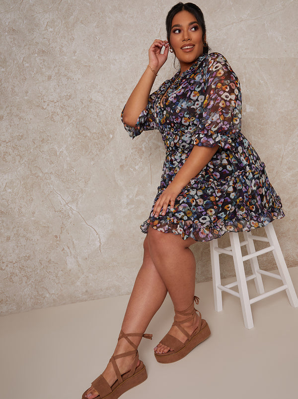 Plus Size Floral Frill Detail Midi Dress