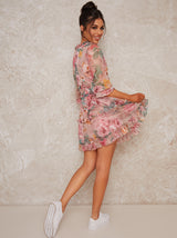 Floral Print Frill Mini Dress in Pink