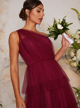 One Shoulder Tiered Tulle Midi Dress In Purple