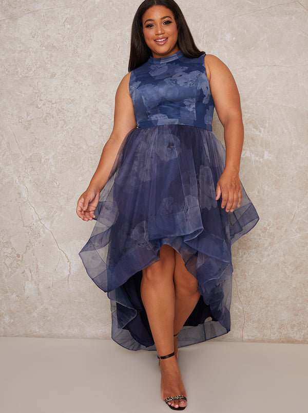 Plus Size High Neck Dip Hem Print Midi Dress in Blue