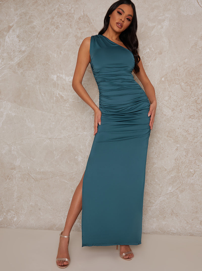 One Shoulder Maxi Dress with Side Slit in Green
