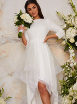 Tulle Dip Hem Bridal Dress with Long Sleeves in White