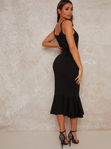 Midi Party Dress with Side Ruffle in Black