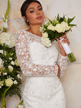 Bridal Long Sleeve Lace Maxi Wedding Dress in White