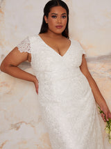 Plus Size Bridal Lace Maxi Wedding Dress in White