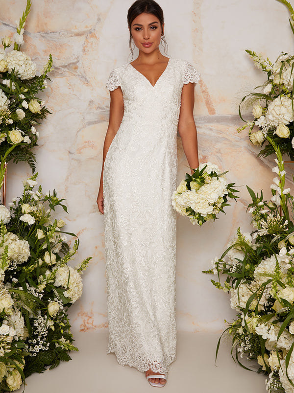 Bridal Lace Embellished Maxi Wedding Dress in White