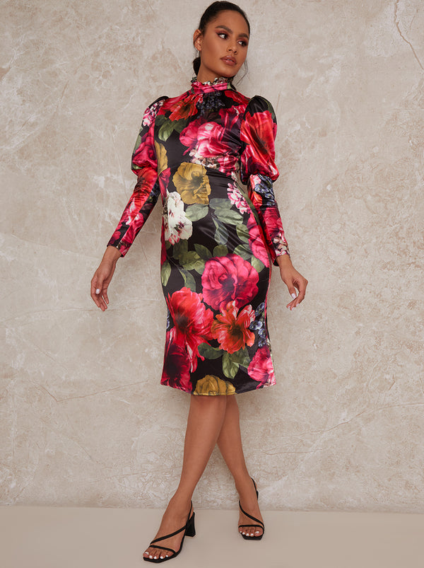 Long Sleeve Floral Puff Shoulder Midi Dress in Multi