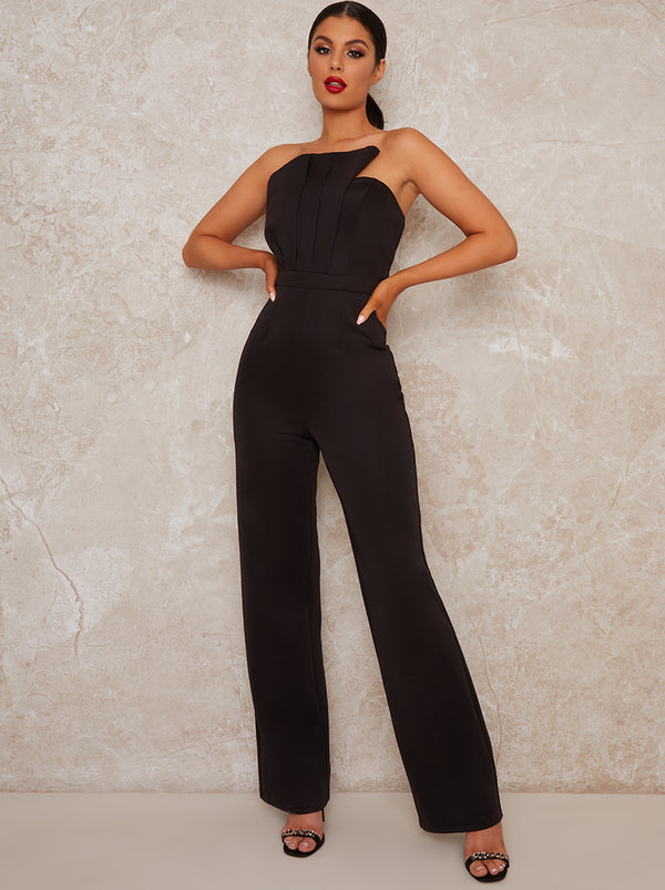 Strapless Pleat Bodice Jumpsuit in Black