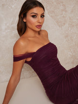 Maxi Party Dress with Bardot Neckline in Purple