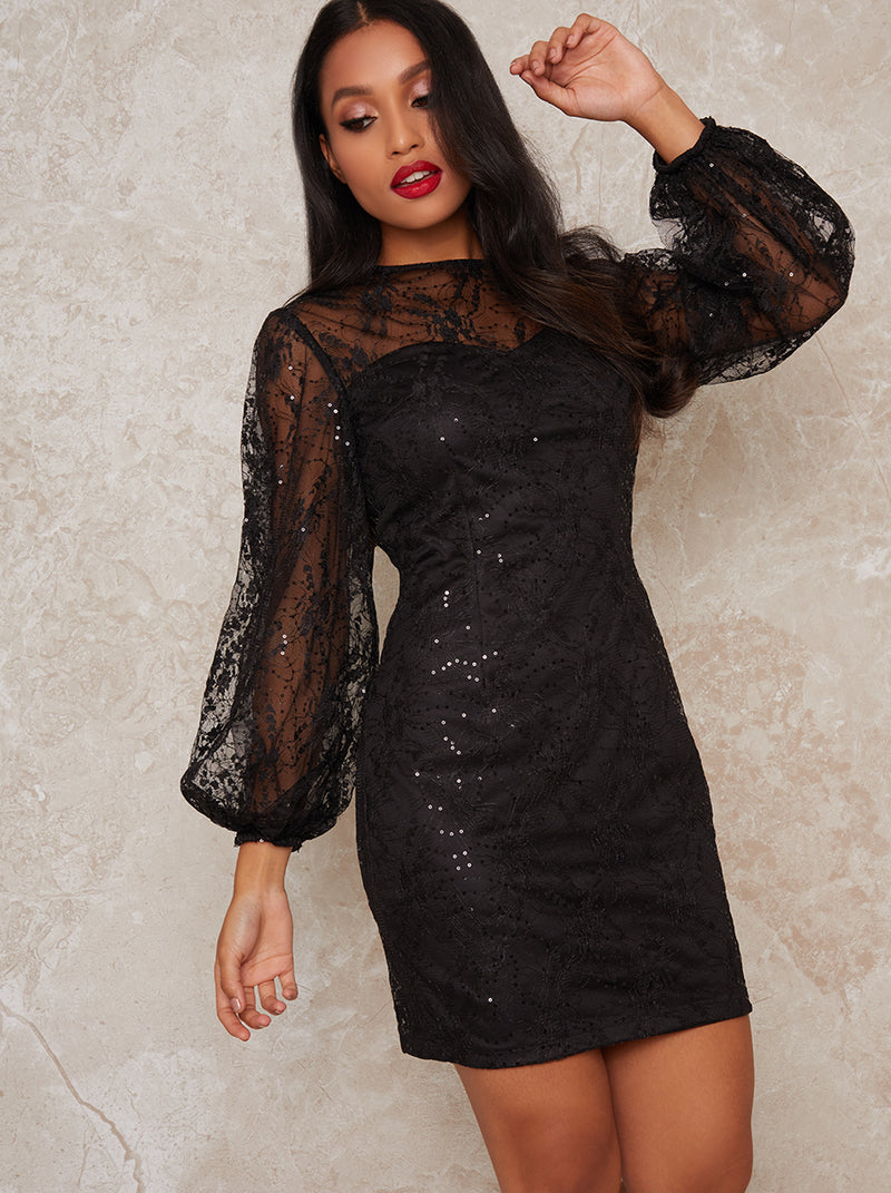 Petite embellished party mini dress in black