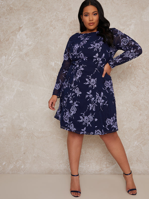 Curve Midi Dress with Lace Floral Print in Blue