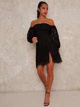 Petite Bodycon Dress with Crochet Design in Black