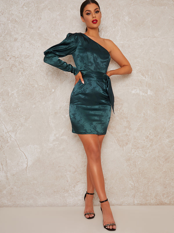 One Shoulder Jacquard Mini Party Dress in Green