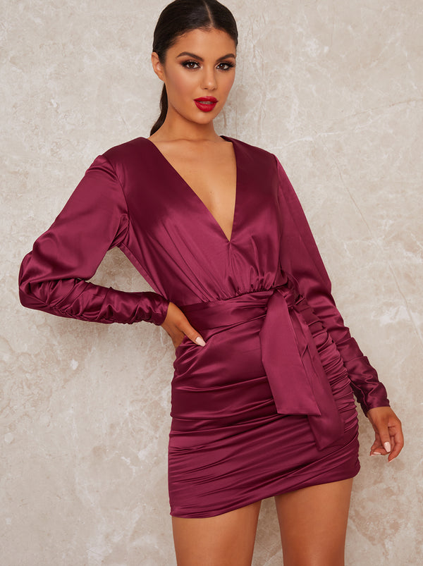 Mini Party Dress with Long Ruched Sleeves in Red