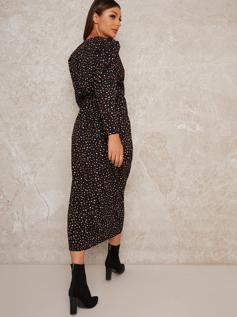 Ruched Long Sleeve Midi Dress in Black